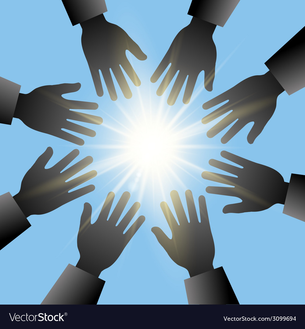 Hands reaching in the sun with blue sky vector | Price: 1 Credit (USD $1)
