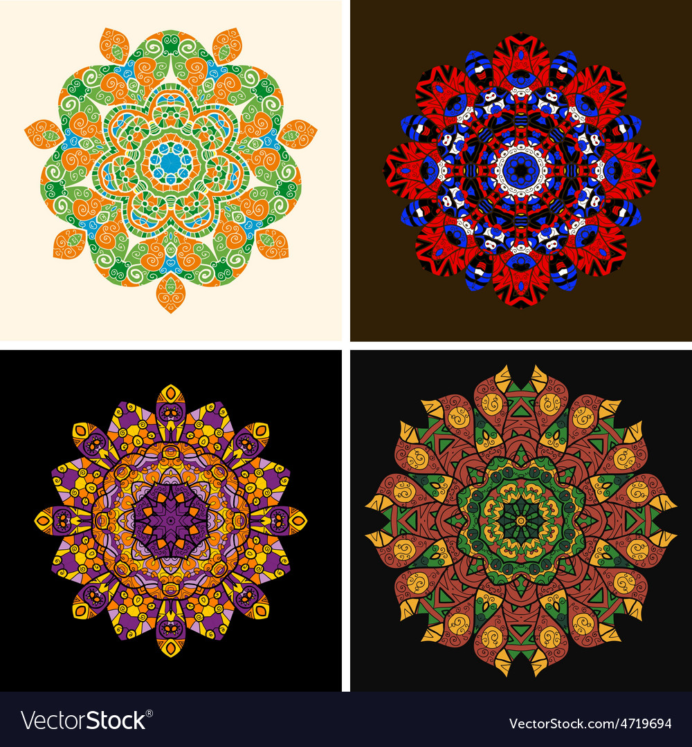 Indian ornament kaleidoscopic floral pattern vector   Price: 1 Credit (USD $1)