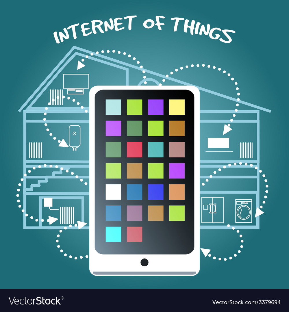 Internet of things concept with smart phone vector | Price: 1 Credit (USD $1)