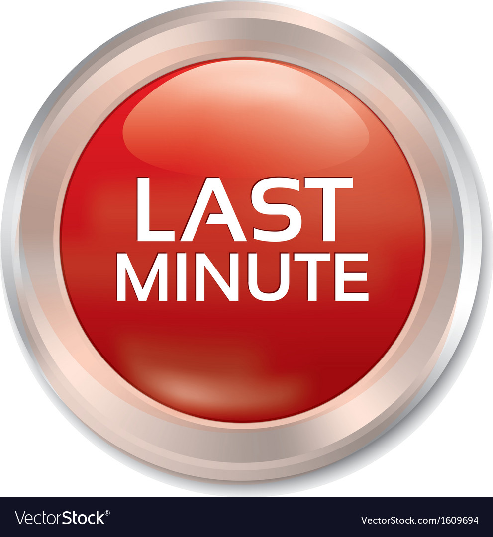 Last minute button sale red round sticker vector | Price: 1 Credit (USD $1)