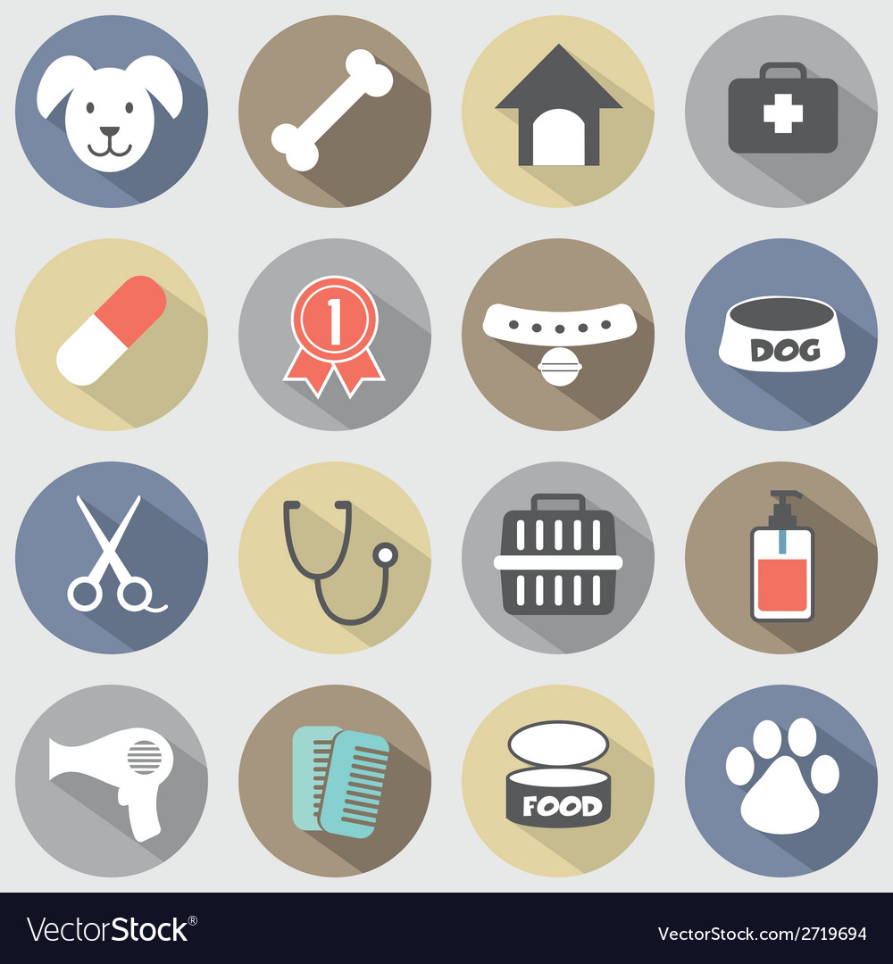 Modern flat design dog icons set vector | Price: 1 Credit (USD $1)