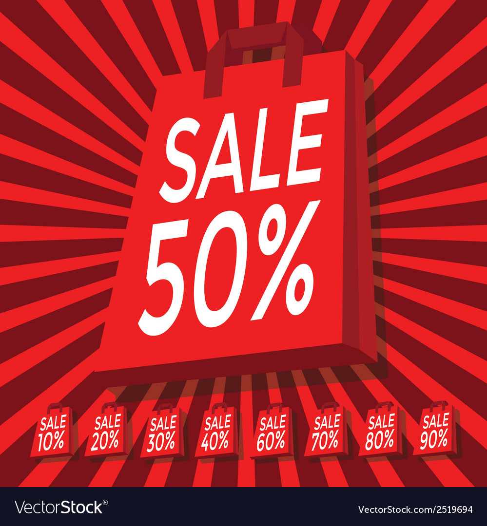 Sale 10 - 90 percent text on with red shopping bag vector | Price: 1 Credit (USD $1)