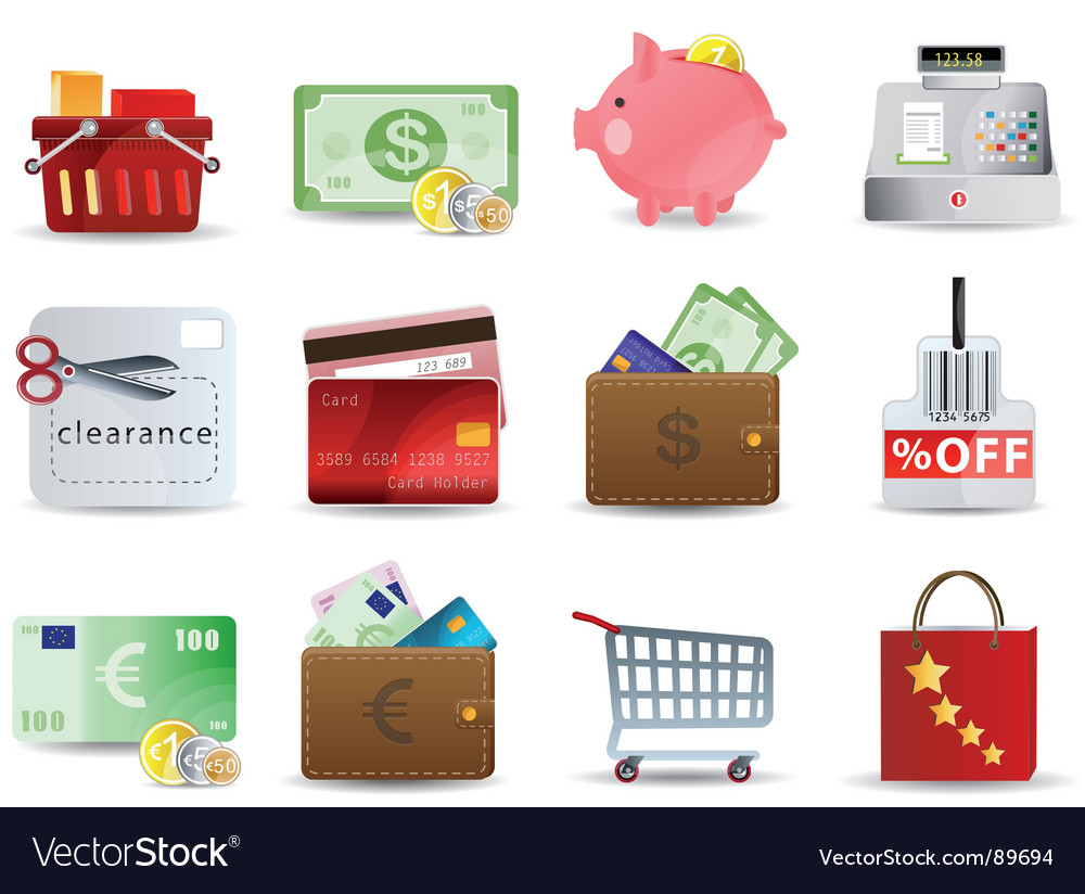 Shopping and consumerism icons vector | Price: 3 Credit (USD $3)