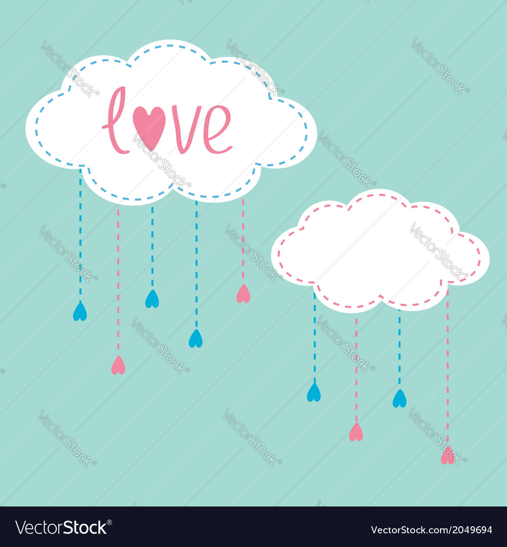 Two clouds with hanging rain drops love card vector | Price: 1 Credit (USD $1)