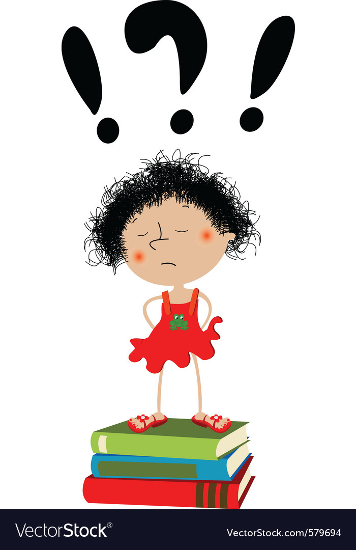 Unhappy little girl vector | Price: 1 Credit (USD $1)