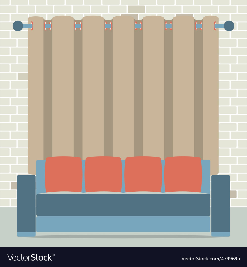 Empty sofa in front of brown curtain and brick vector | Price: 1 Credit (USD $1)