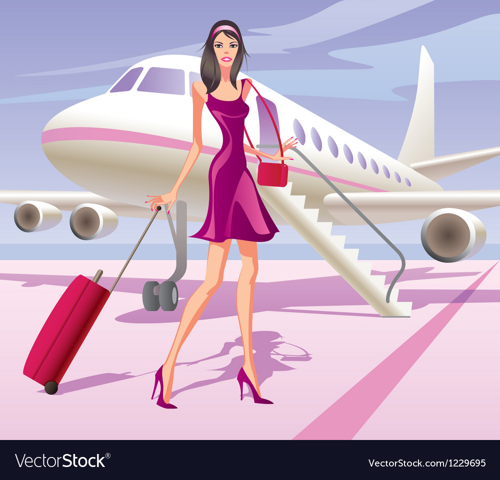 Fashion model is traveling by aircraft vector | Price: 1 Credit (USD $1)