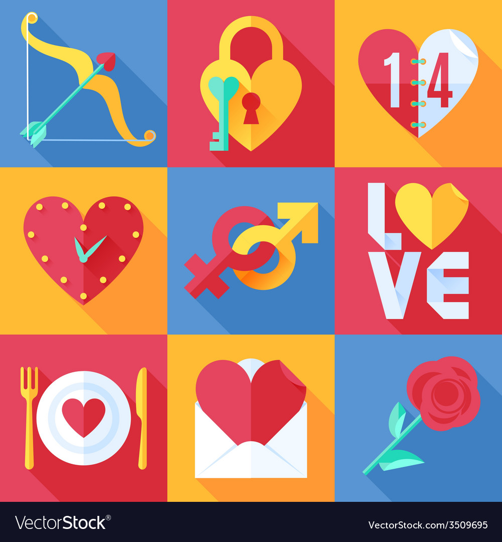Flat love icons vector | Price: 1 Credit (USD $1)