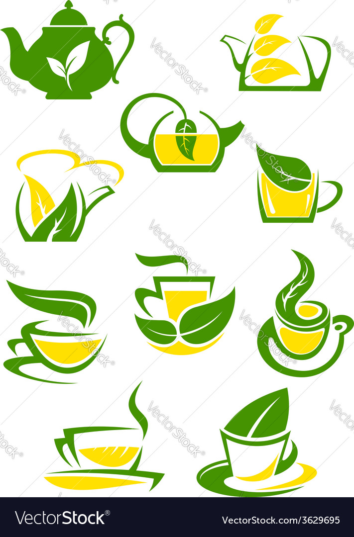 Herbal and lemon tea cup icons vector | Price: 1 Credit (USD $1)