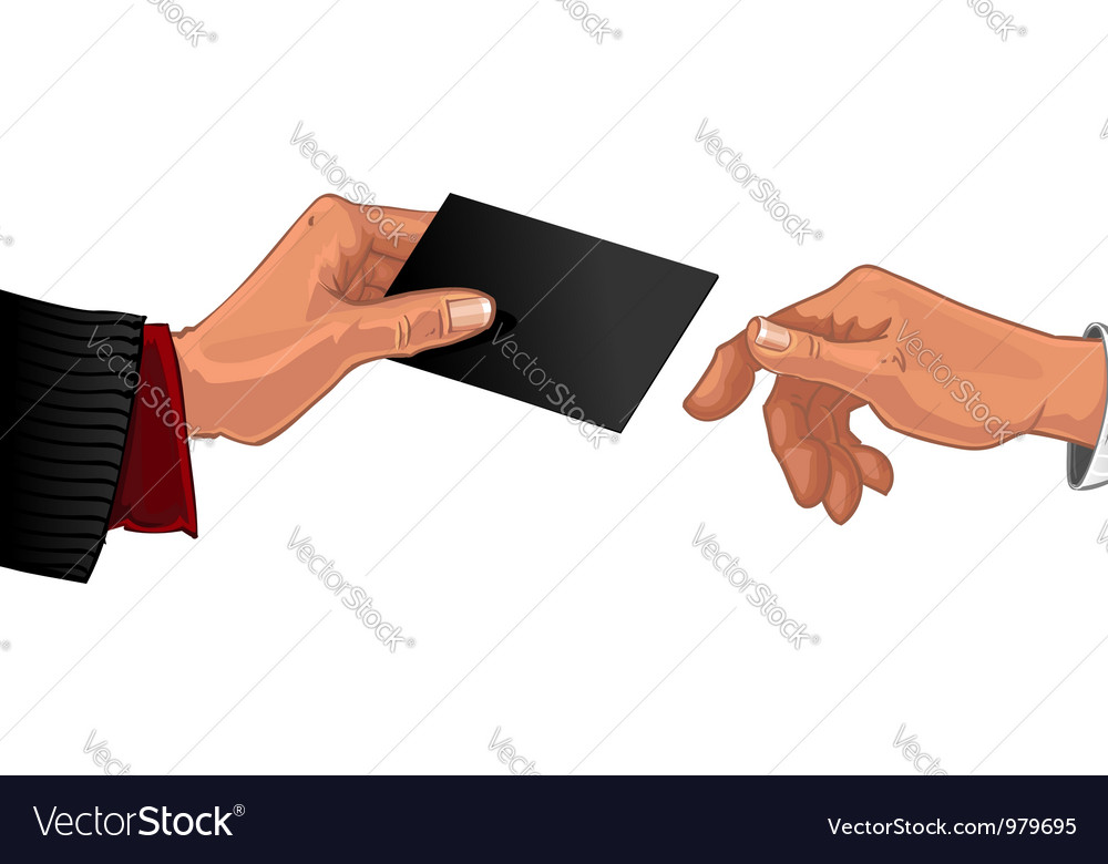 Male hand pass black business card to other male vector | Price: 1 Credit (USD $1)