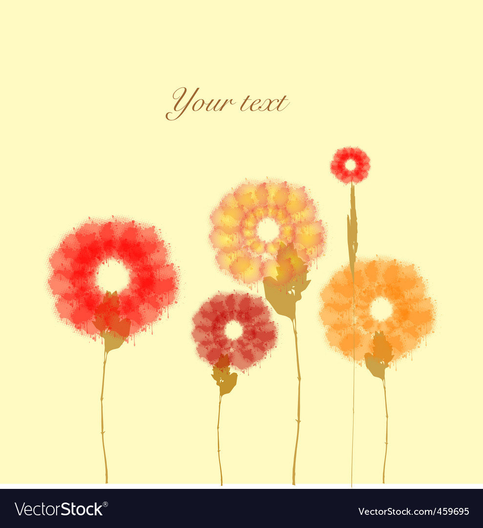 Painted flowers on vanilla background vector | Price: 1 Credit (USD $1)