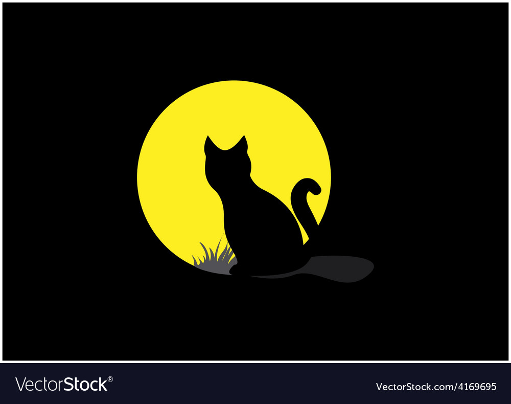Silhouette of a black cat over moonlight vector | Price: 1 Credit (USD $1)