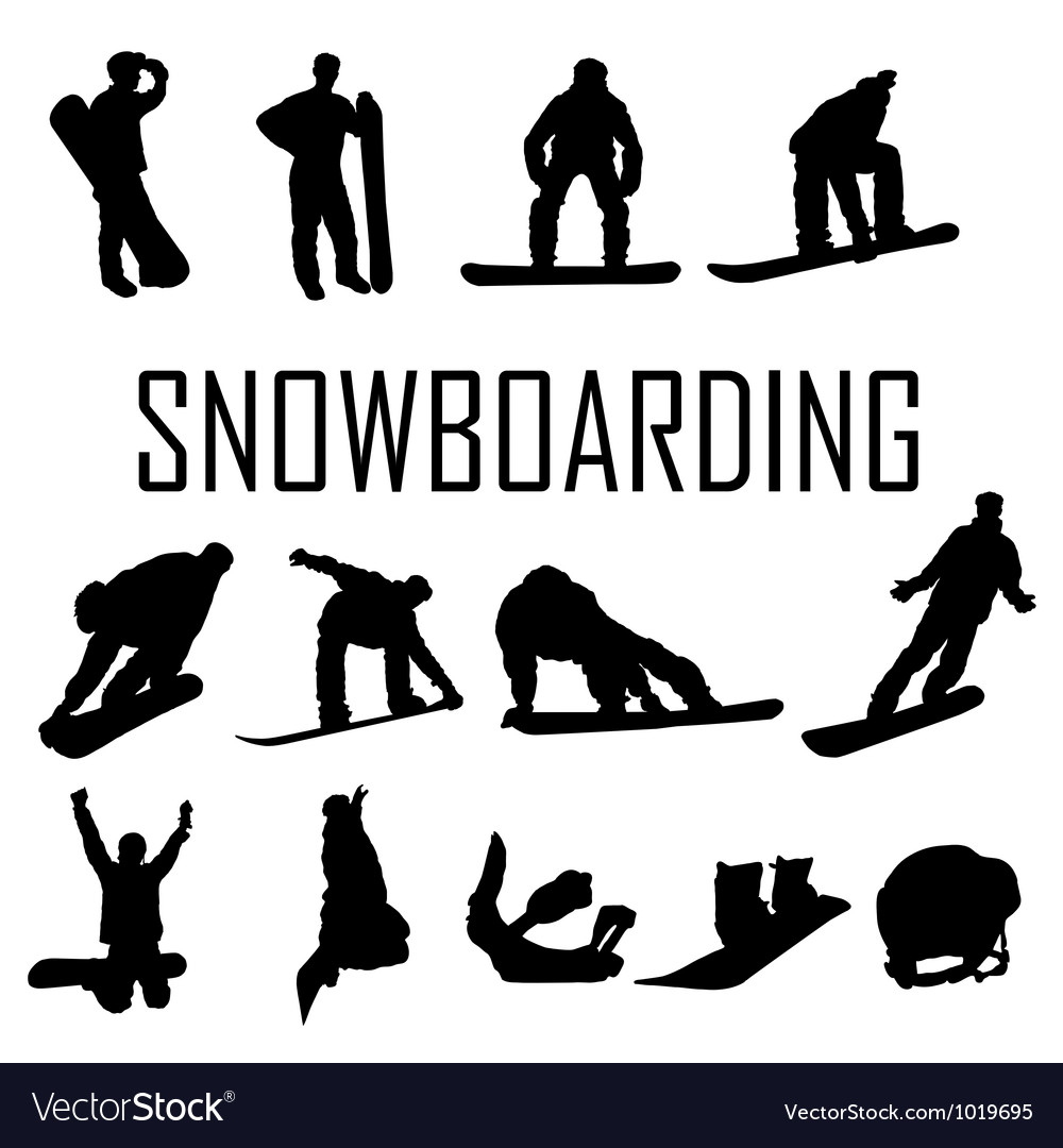 Snowboarder man silhouette vector | Price: 1 Credit (USD $1)