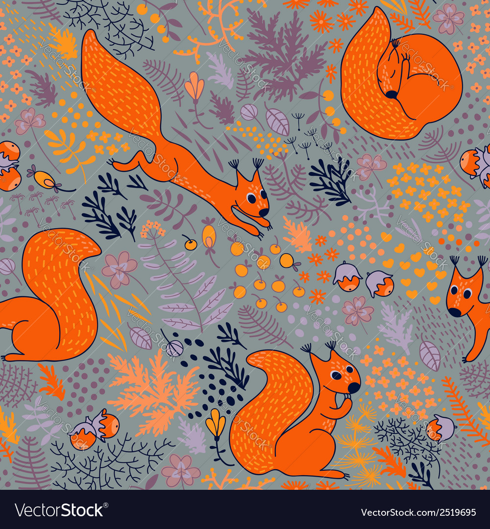 Squirrels in the woods vector | Price: 1 Credit (USD $1)