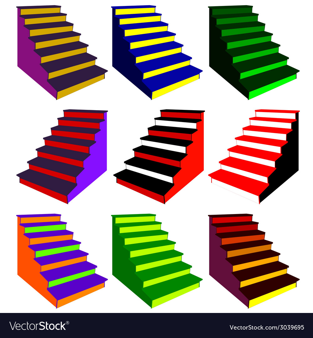 Steps in various color combinations vector | Price: 1 Credit (USD $1)