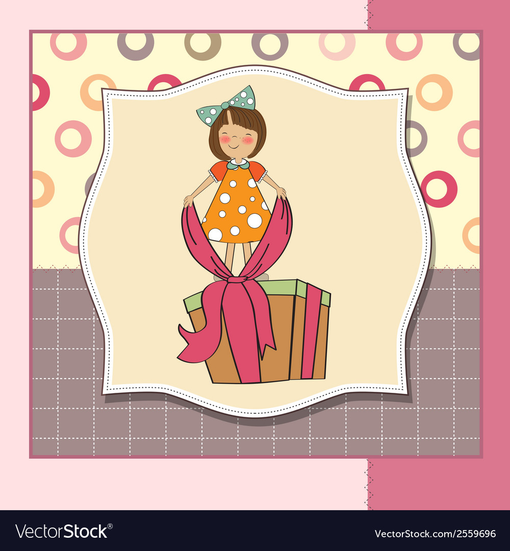 A nice girl with a big gift box vector | Price: 1 Credit (USD $1)
