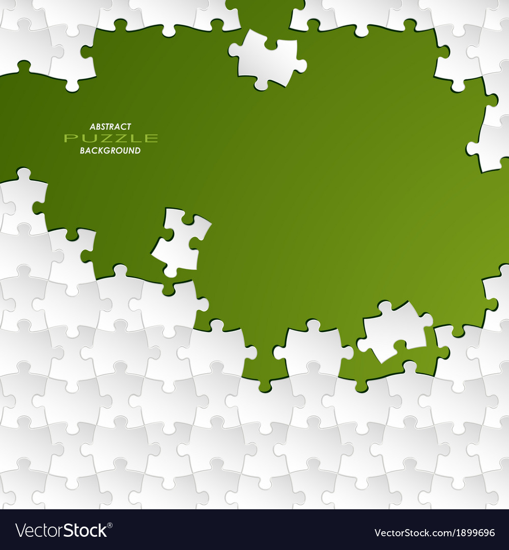 Abstract white group puzzle with green background vector | Price: 1 Credit (USD $1)