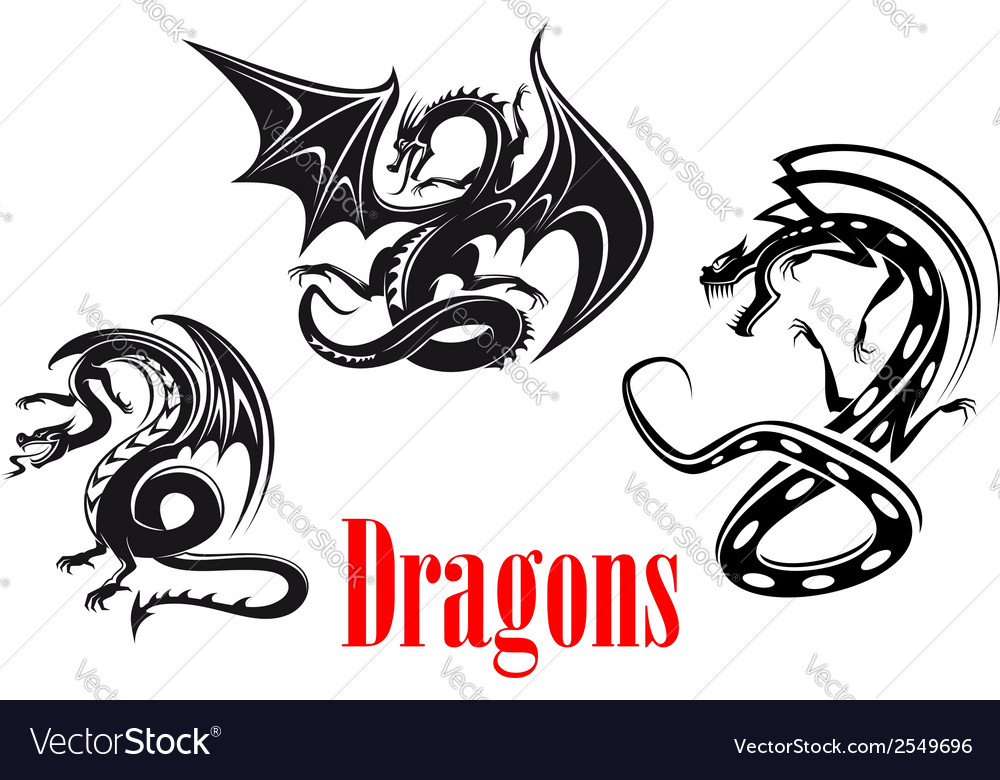 Black danger dragons vector | Price: 1 Credit (USD $1)