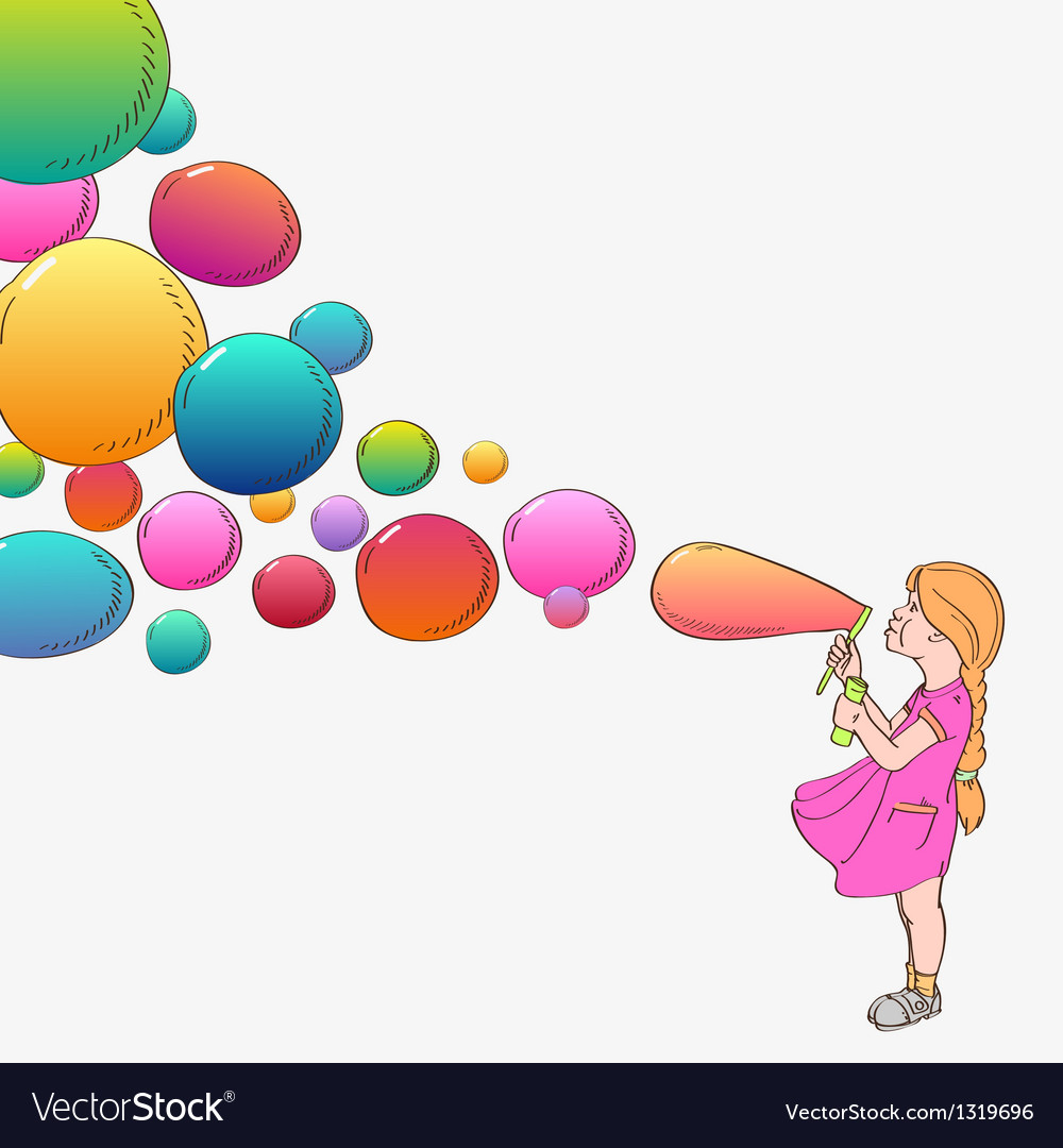 Girl with soap bubbles vector | Price: 1 Credit (USD $1)