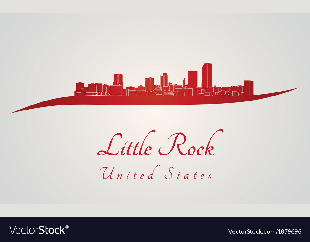 Little rock skyline in red vector | Price: 1 Credit (USD $1)