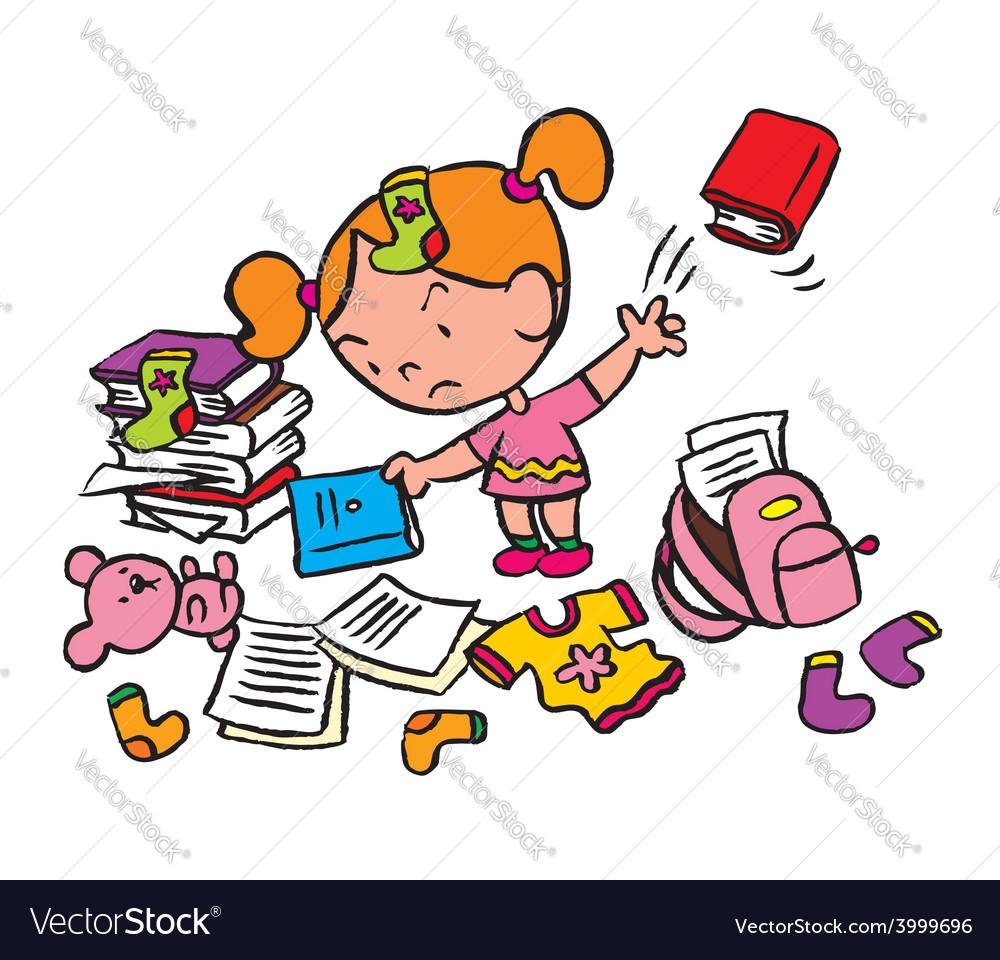 Little schoolgirl in a messy room vector | Price: 1 Credit (USD $1)