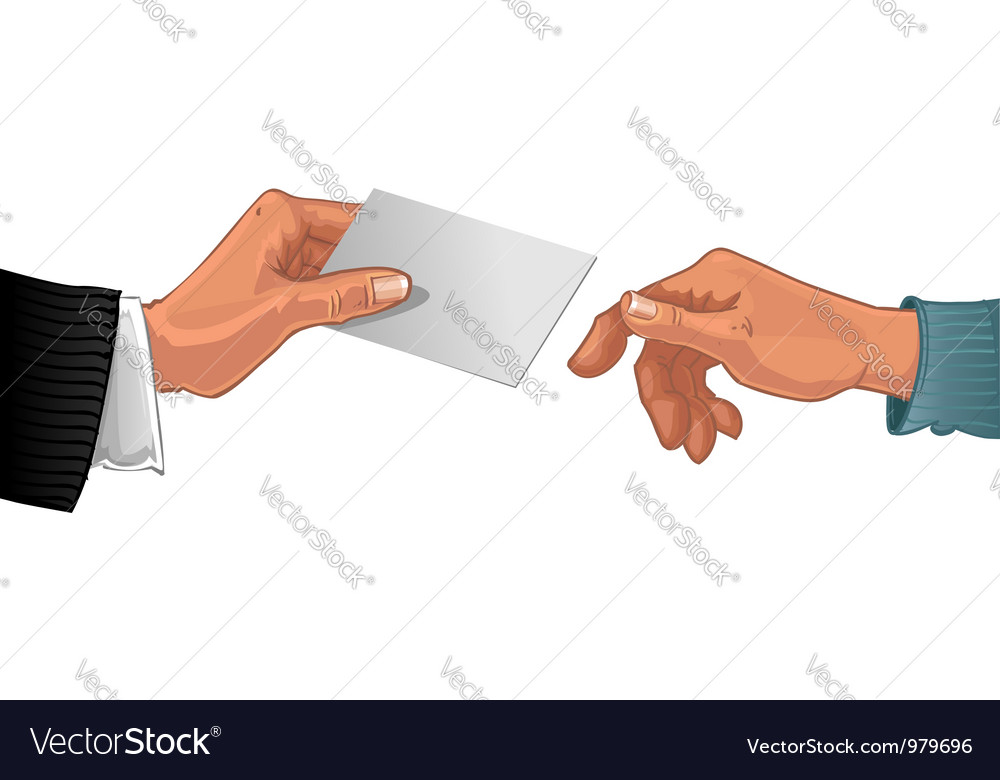 Male hand pass business card to other male hand vector | Price: 1 Credit (USD $1)