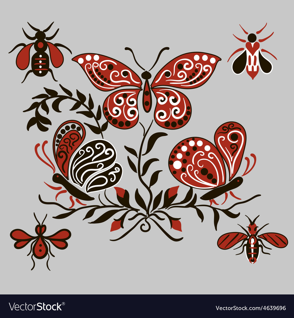 Pattern with black and red butterflies vector | Price: 1 Credit (USD $1)