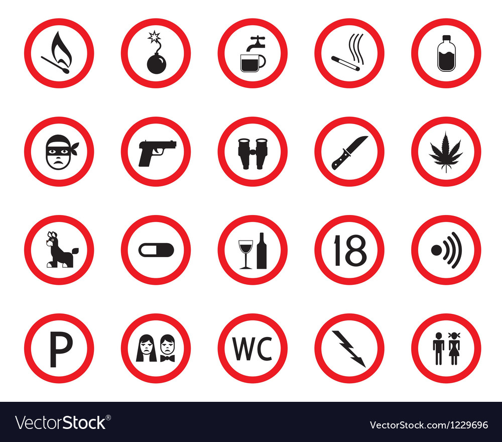 Prohibitive and mandatory public signs vector | Price: 1 Credit (USD $1)