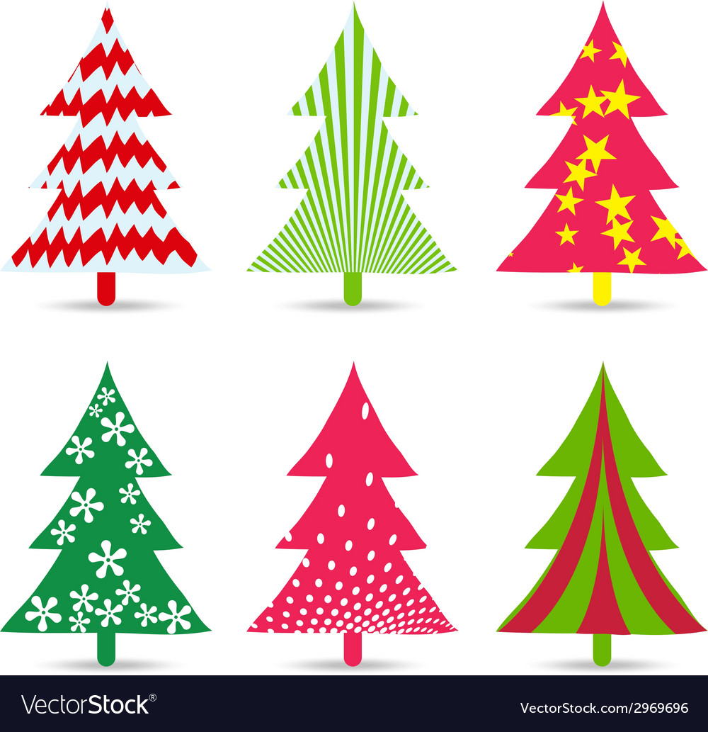 Set of christmas trees for design vector | Price: 1 Credit (USD $1)