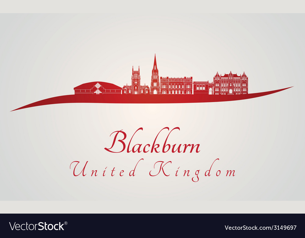 Blackburn skyline in red vector | Price: 1 Credit (USD $1)