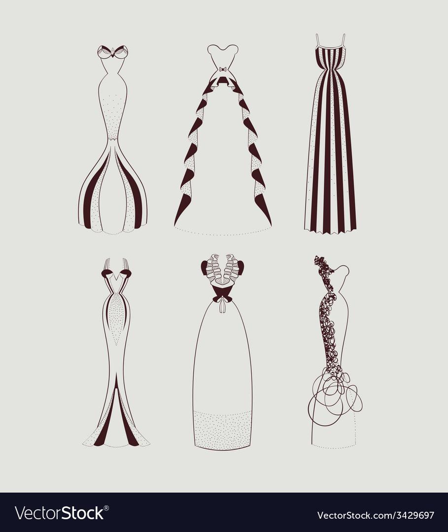 Floor length woman dresses vector   Price: 1 Credit (USD $1)