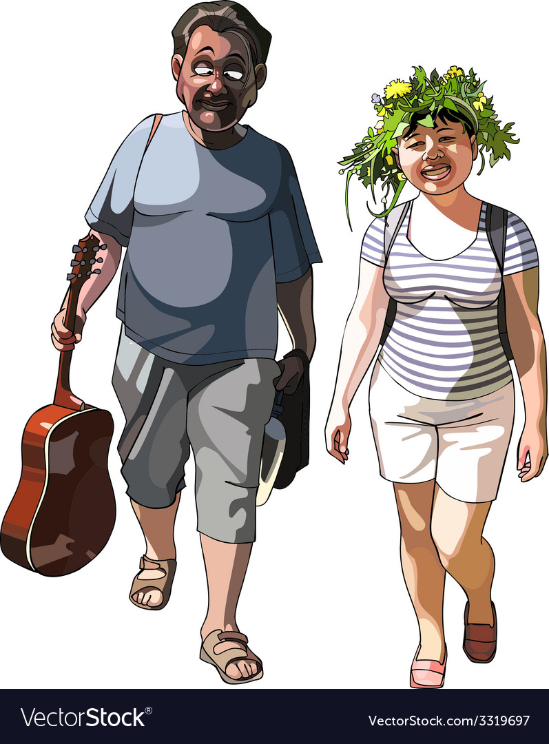 Man with guitar and smiling woman vector   Price: 3 Credit (USD $3)