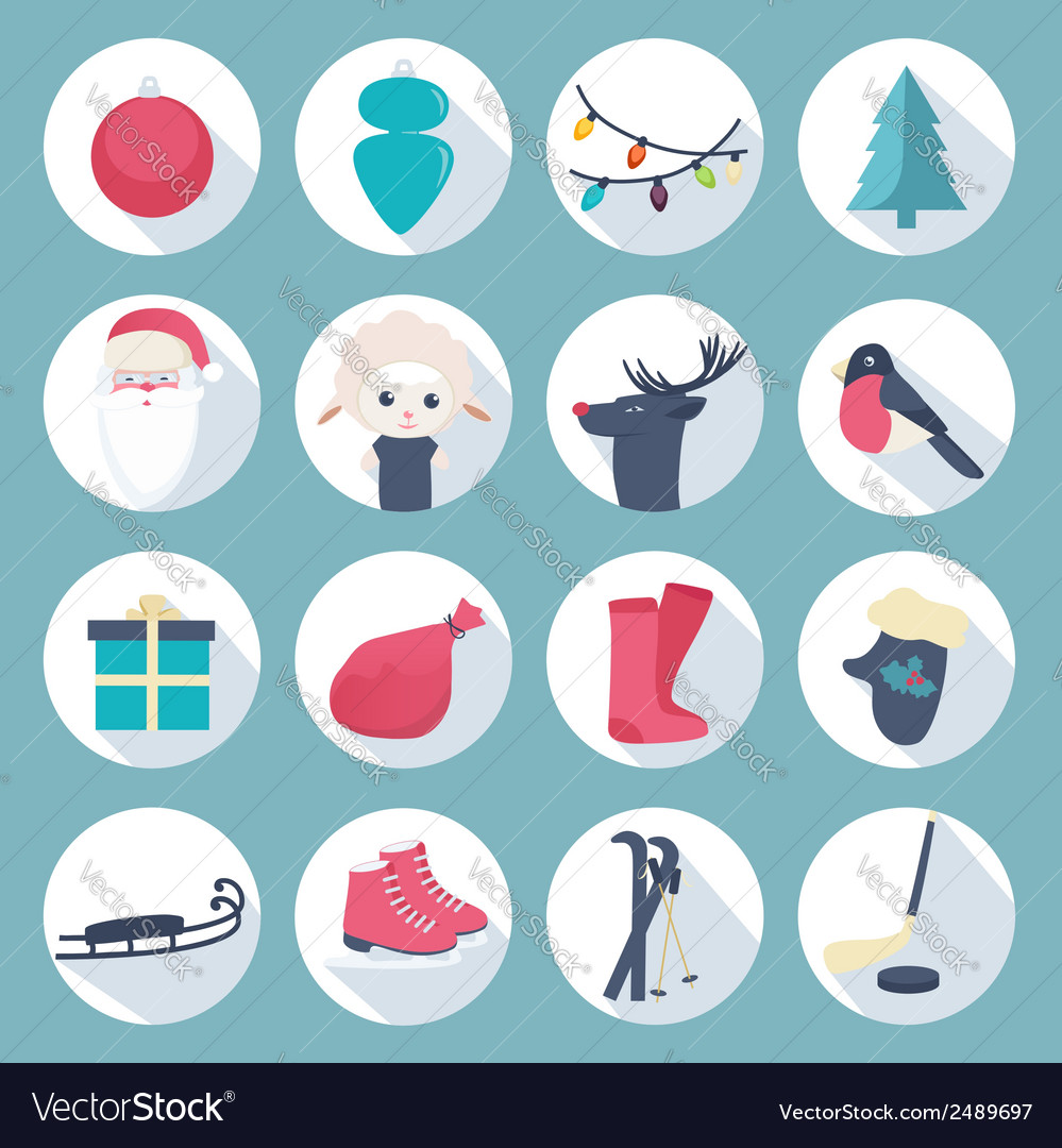 New year icon set vector | Price: 1 Credit (USD $1)