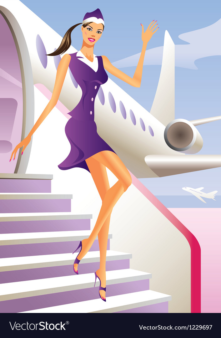 Stewardess welcome aboard in passenger aircraft vector | Price: 1 Credit (USD $1)