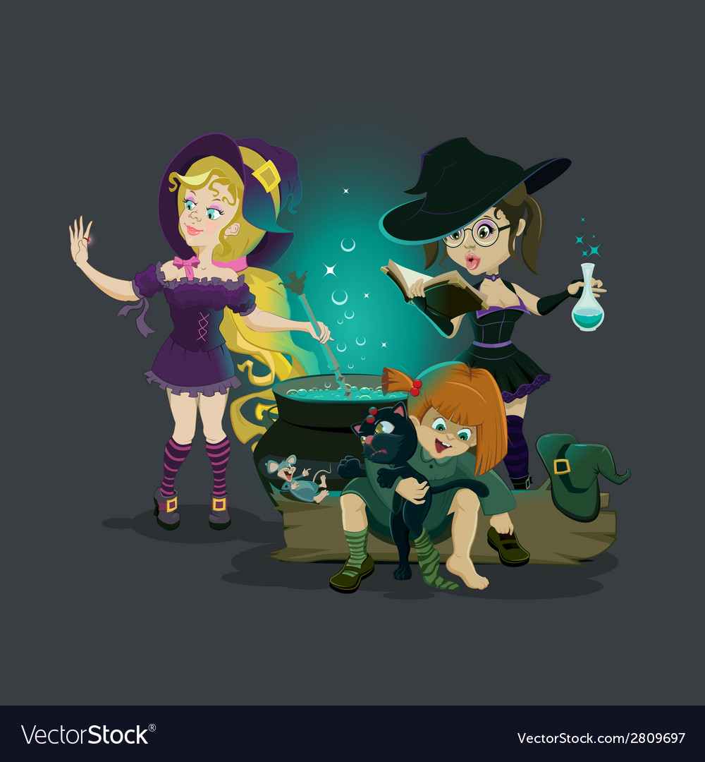 Three witches brew potion vector | Price: 1 Credit (USD $1)