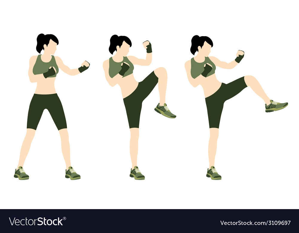 Young woman body combat and fitness vector | Price: 1 Credit (USD $1)