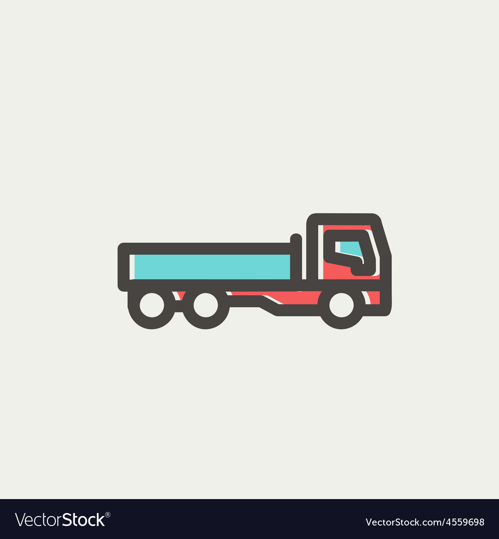Cargo truck thin line icon vector | Price: 1 Credit (USD $1)