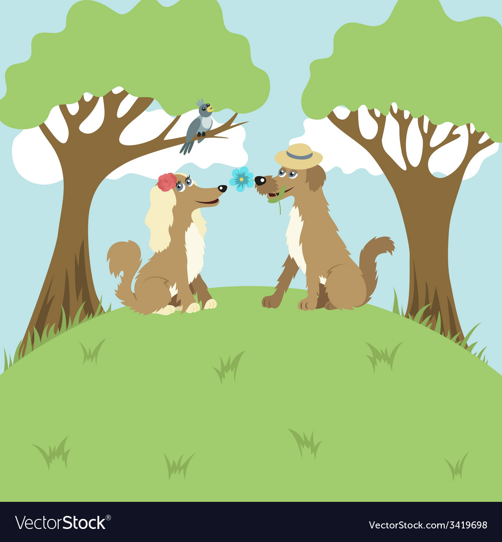 Dogs on a romantic appointment vector | Price: 1 Credit (USD $1)