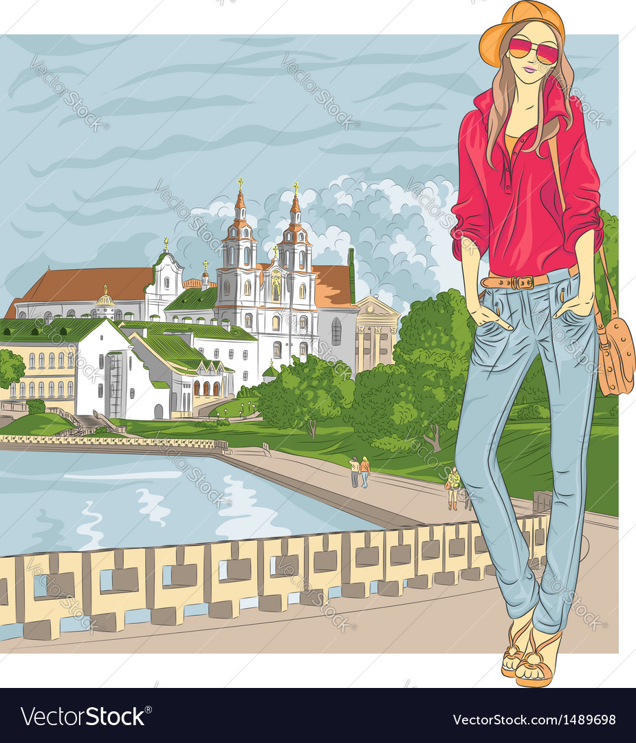 Fashion stylish girl in the old city vector | Price: 5 Credit (USD $5)