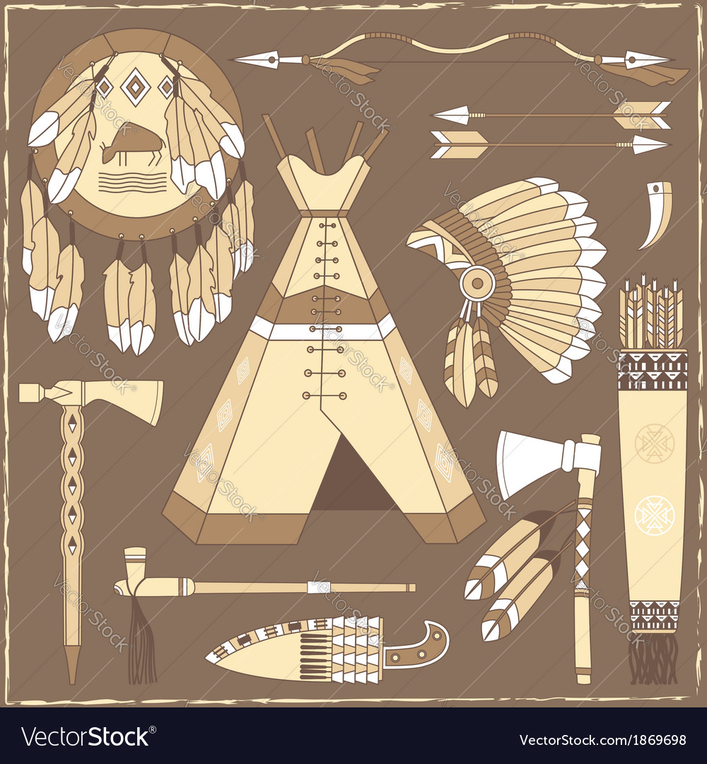 Native american hunting design elements vector   Price: 1 Credit (USD $1)