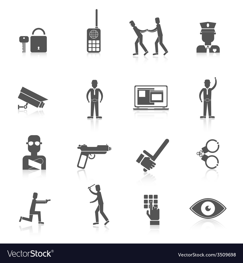 Security guard black icons vector | Price: 1 Credit (USD $1)