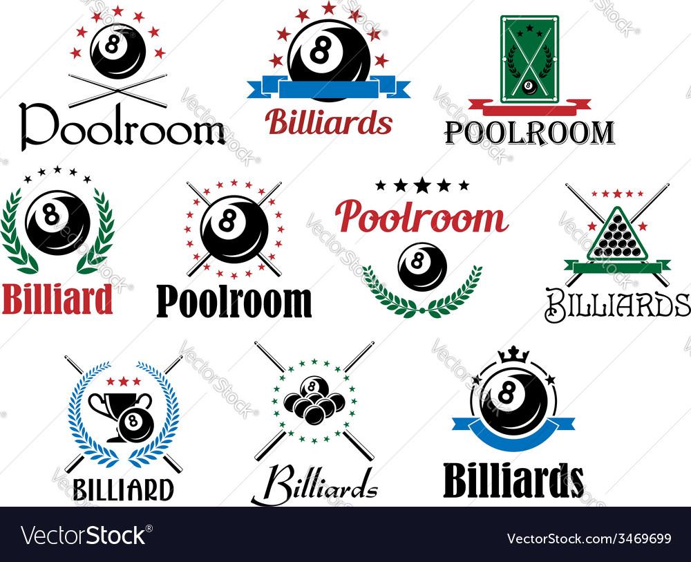 Billiard game emblems and symbols set vector | Price: 1 Credit (USD $1)