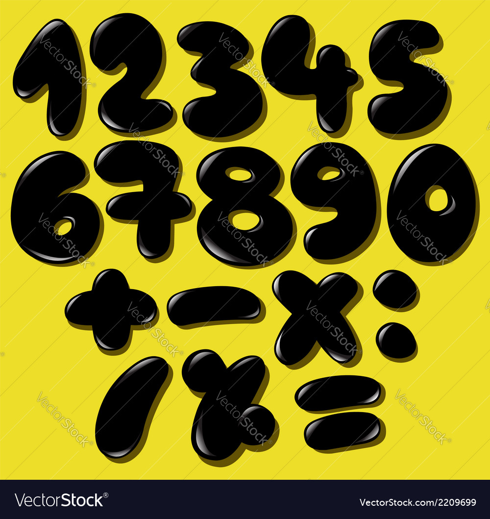 Black bubble numbers vector | Price: 1 Credit (USD $1)