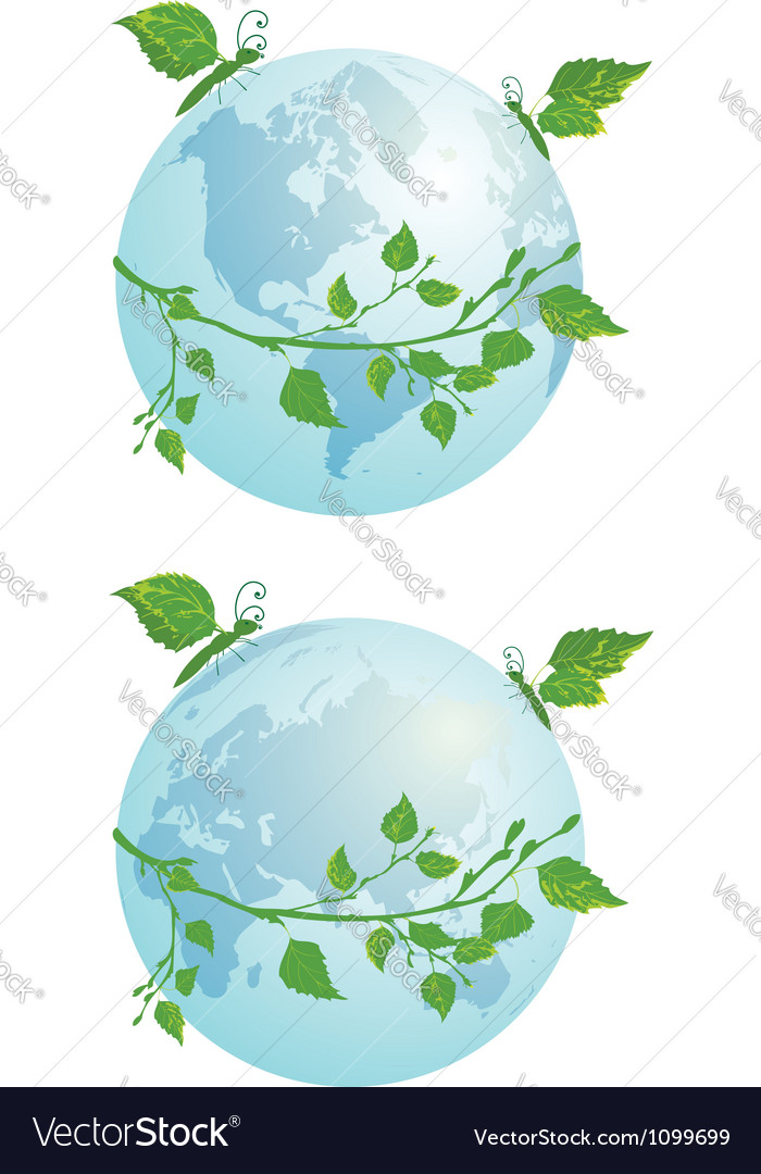 Butterflies and globe vector | Price: 1 Credit (USD $1)