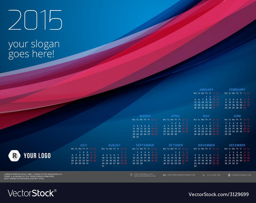 Calendar 2015 template week starts monday vector | Price: 1 Credit (USD $1)