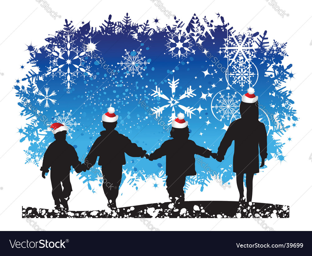 Christmas holiday happy children vector | Price: 1 Credit (USD $1)