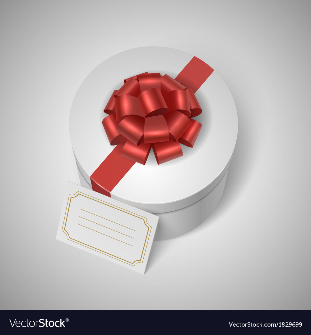Classic giftbox with red ribbon bow and blank vector | Price: 1 Credit (USD $1)