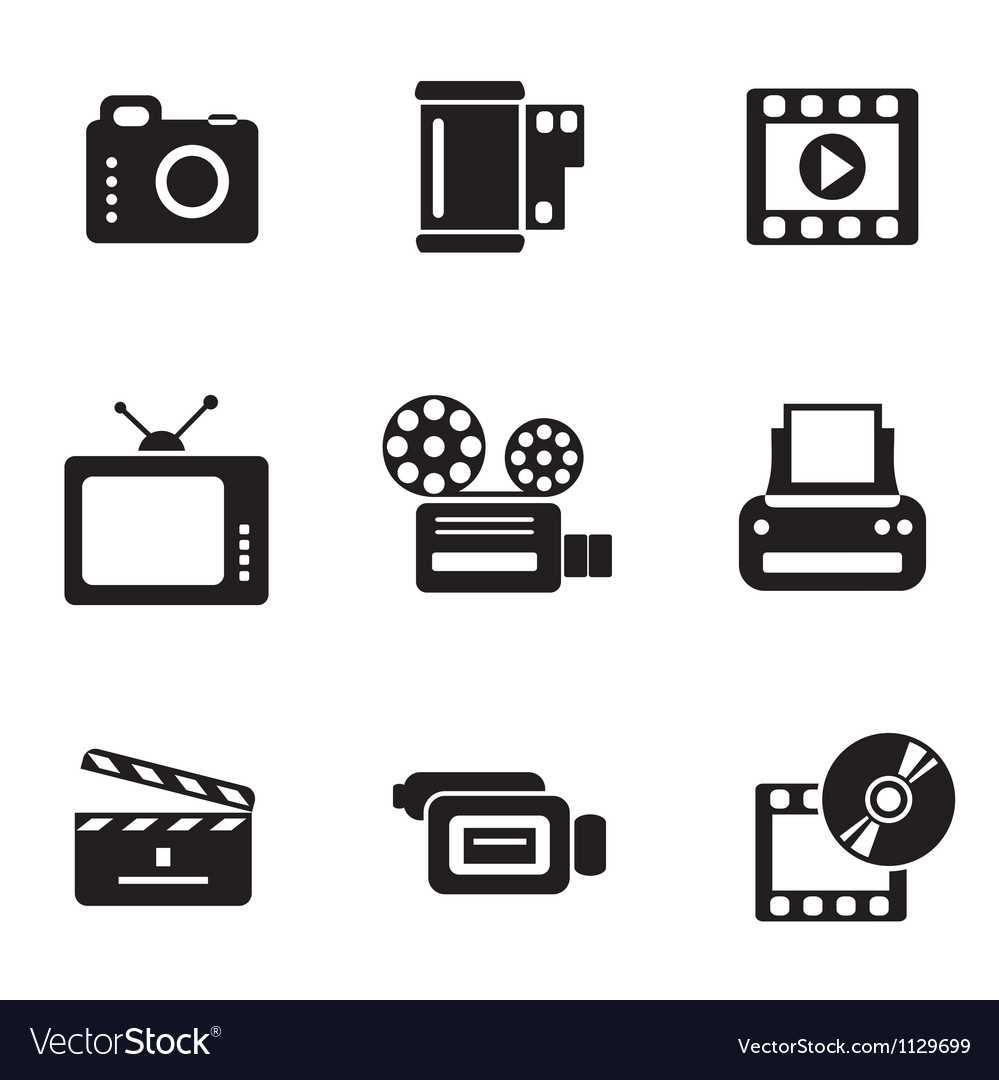 Computer photo-video icons vector | Price: 1 Credit (USD $1)
