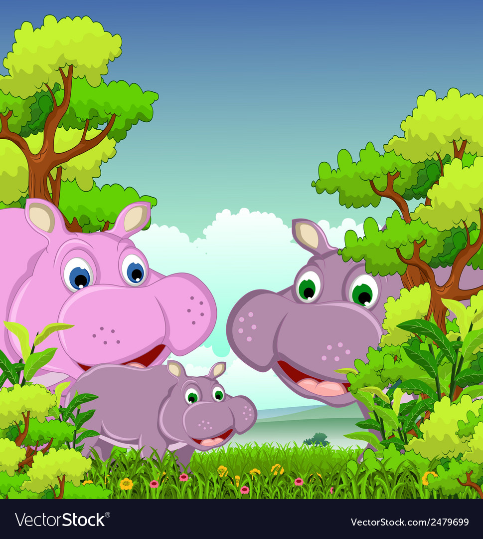 Family of hippo cartoon with forest background vector | Price: 1 Credit (USD $1)