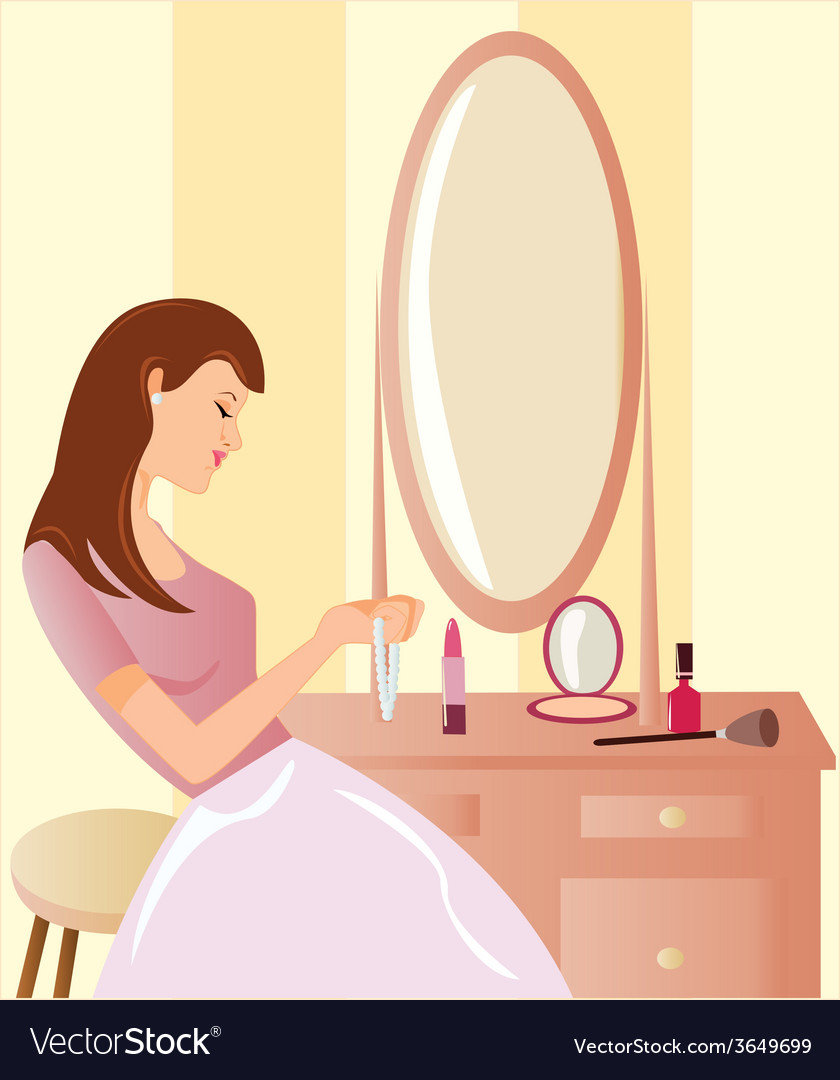 Girl-before-a-mirror vector | Price: 1 Credit (USD $1)